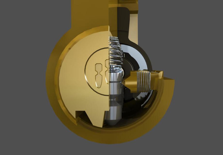 金点原子月牙边柱锁结构图